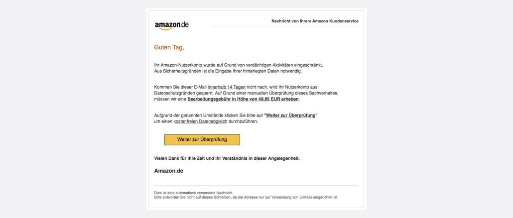 2017-04-14 Amazon Spam Mail Konto gesperrt