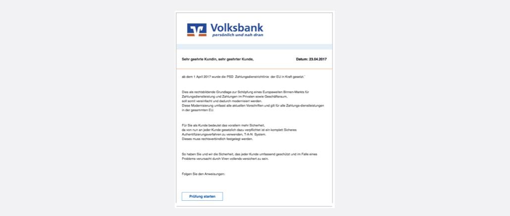 Wichtig - Konto Prüfung erforderlich Volksbank Spam