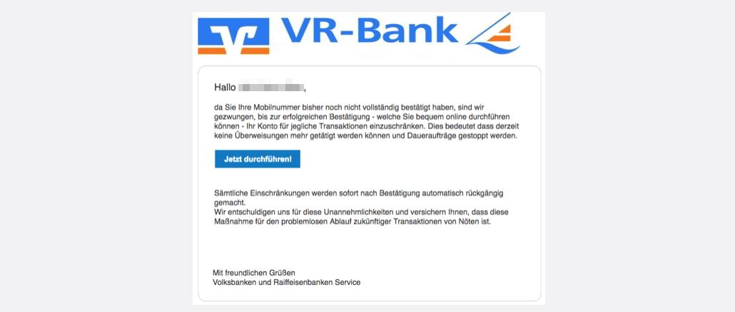 2017-04-16 Volksbank Phishing Mail Bestaetigen Sie Ihre Mobilnummer