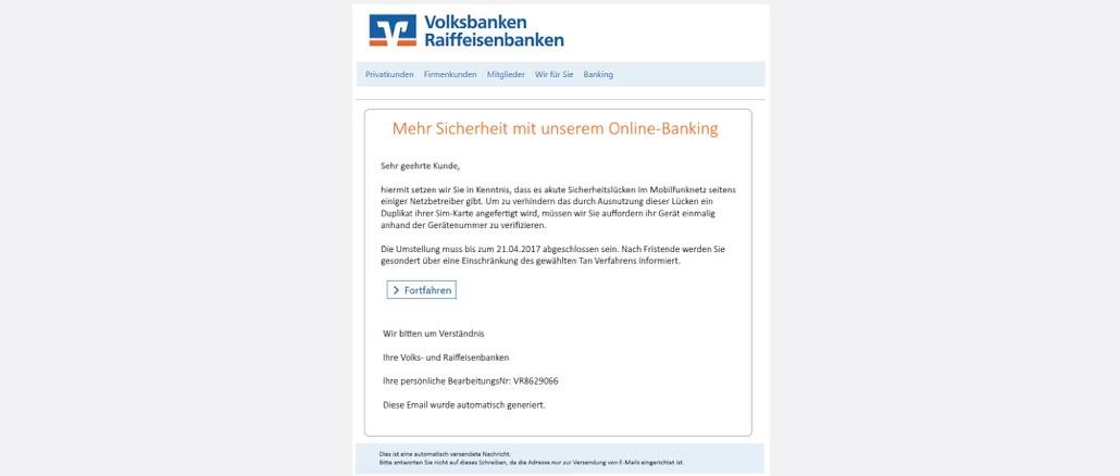 2017-04-19 Sicherheit bei Volksbanken - Verifizierung erforderlich