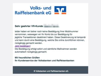 Wichtig Bestätigen Sie Ihre Mobilnummer Volksbank Spam