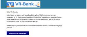 Volksbank Phishing Mobilfunknummer bestätigen