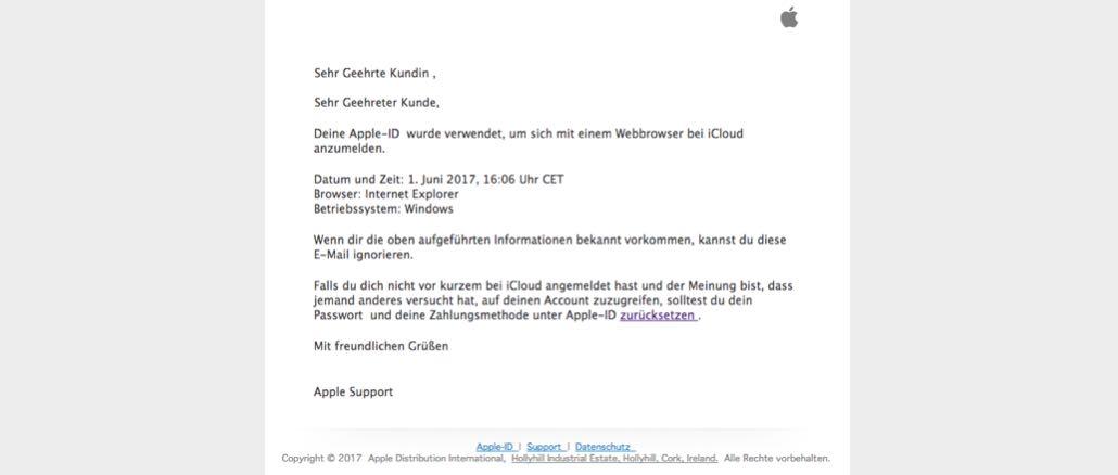 2017-06-06 Apple Phishing-Mail
