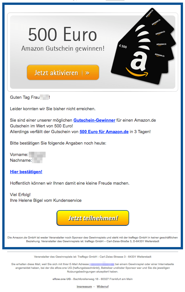 achtung datensammler e mail mit 500 euro amazon gutschein ist spam. Black Bedroom Furniture Sets. Home Design Ideas
