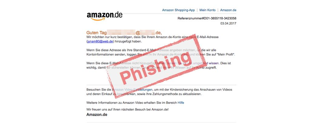 """Amazon E-Mail """"Sie haben Ihrem Amazon.de-Konto eine neue E-Mail-Adresse hinzugefügt"""" ist Phishing"""