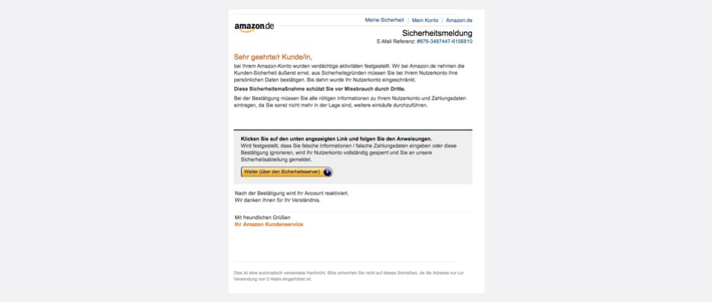 Amazon Spam Phishing Benachrichtigung vom Sicherheitsdienst