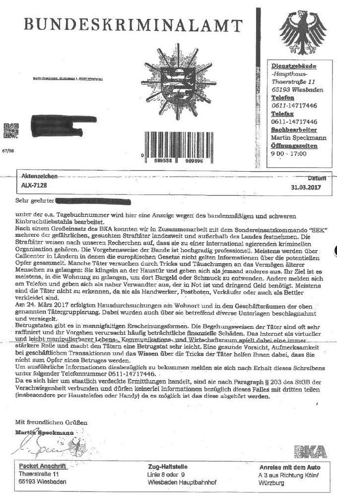 BKA Brief Fälschung