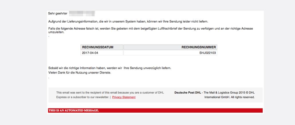 DHL E-Mail mit Virus RAR-Datei