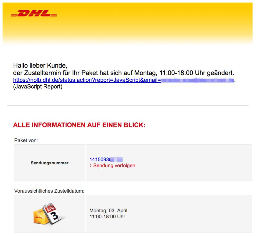 DHL Spam E-Mail