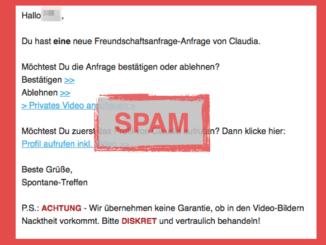 E-Mail Spam Freundschaftsanfrage