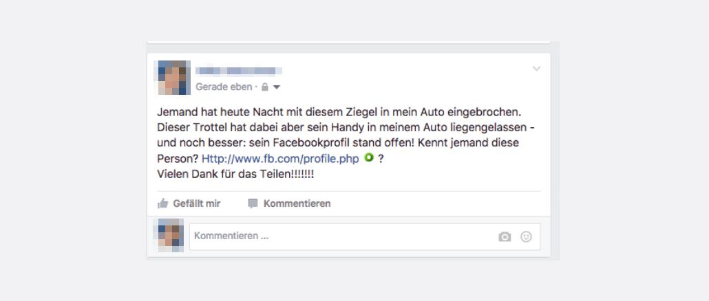 Facebook Kettenbrief Post Einbruch Auto