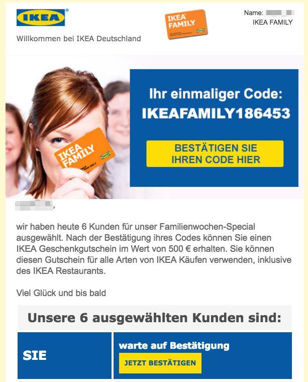 Fake Gewinnspiel IKEA 500 Euro Gutschein IKEA Family