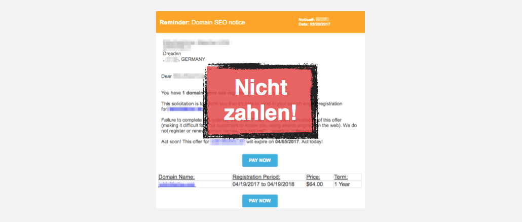 Fake-Rechnung Domain Notification SEO Service Registration Corp