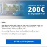 Gewinnspiel E-Mail Spam ARAL Tankgutschein