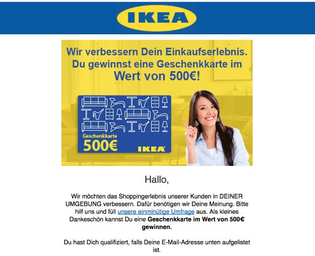 e mail werbung f r 500 euro m belgutschein von ikea ist f lschung. Black Bedroom Furniture Sets. Home Design Ideas