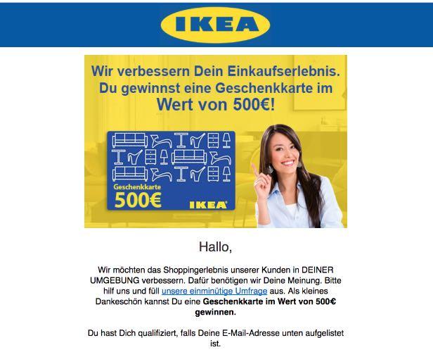 Gewinnspiel Werbung IKEA 500 Euro Geschenkkarte
