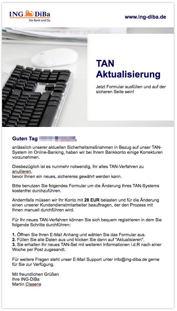 Vorsicht Spam E Mails Im Namen Des Ing Diba Kundenservice Phishing