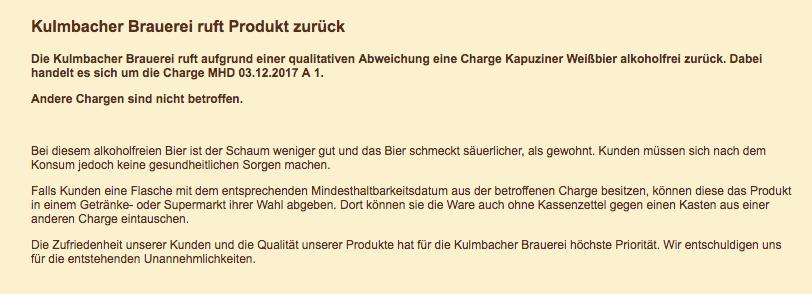Kulmbacher Brauerei AG Rueckruf Tausch Flasche gegen Kasten