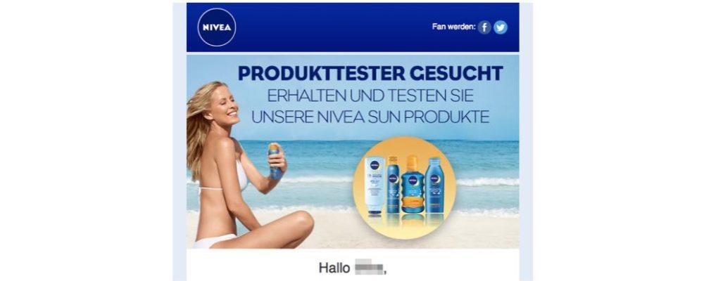 Vorsicht Datensammler: Irreführende E-Mail Produkttester gesucht! Nivea Sun Produkte gratis testen!
