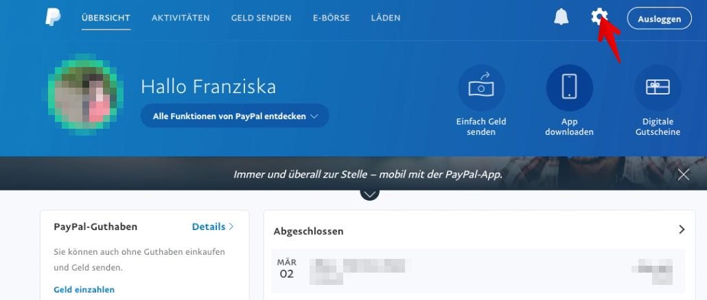 passwort paypal ändern