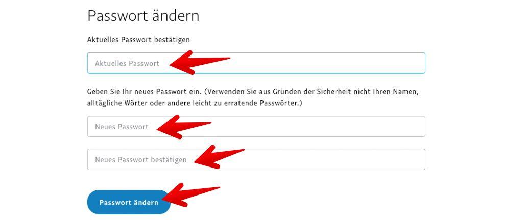 Paypal Passwort ändern