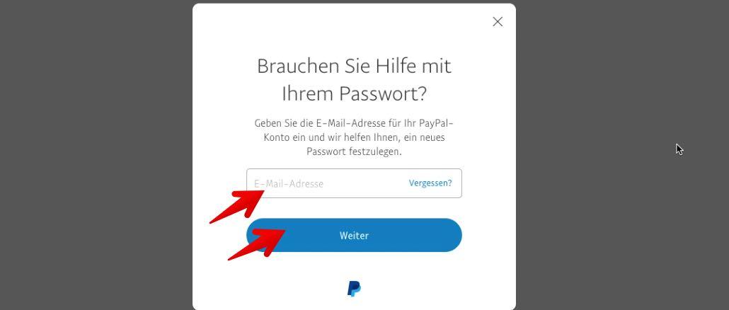 paypal passwort und sicherheitsfragen vergessen