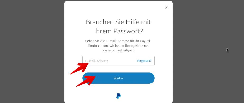 passwort paypal vergessen