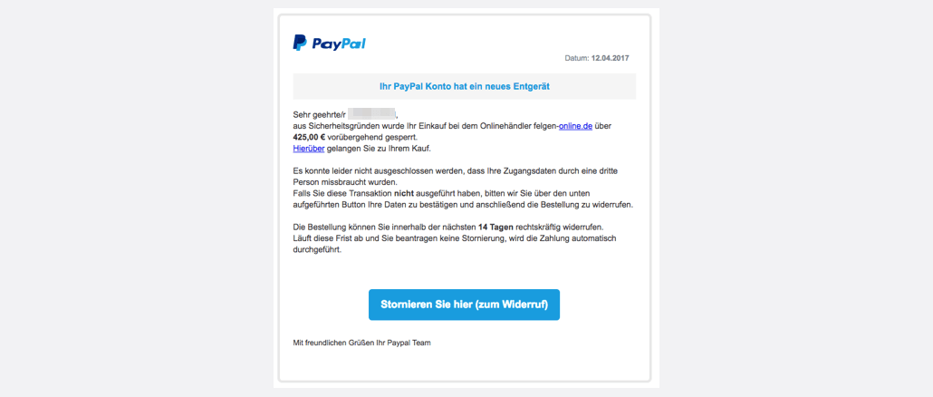 paypal phishing aktuell diese e mails sind betrug spam. Black Bedroom Furniture Sets. Home Design Ideas
