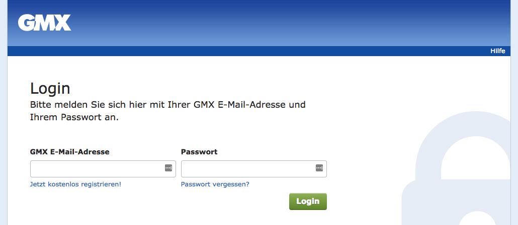 Phishing Webseite GMX Anmeldung