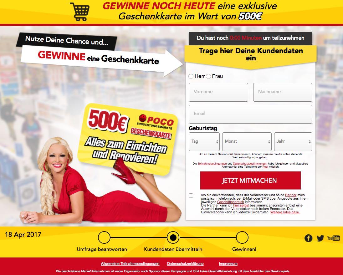 Poco 500 Euro Geschenkkarten-Gewinnspiel