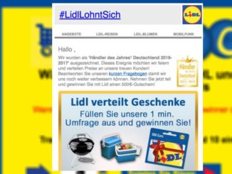 Spam Mail Lidl Gewinnspiel Datensammler
