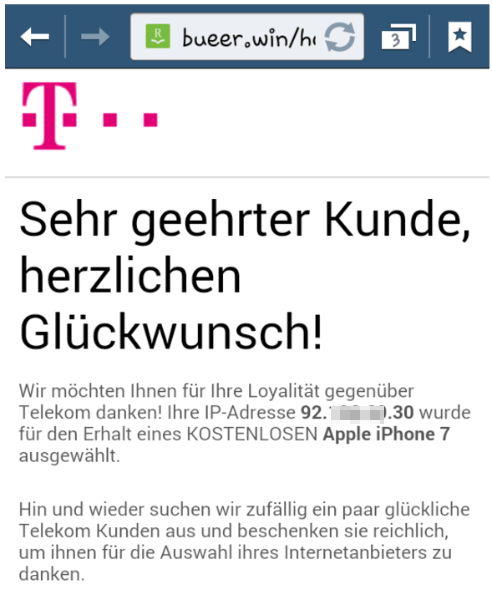 Telekom Fenster Gewinnspiel Fake