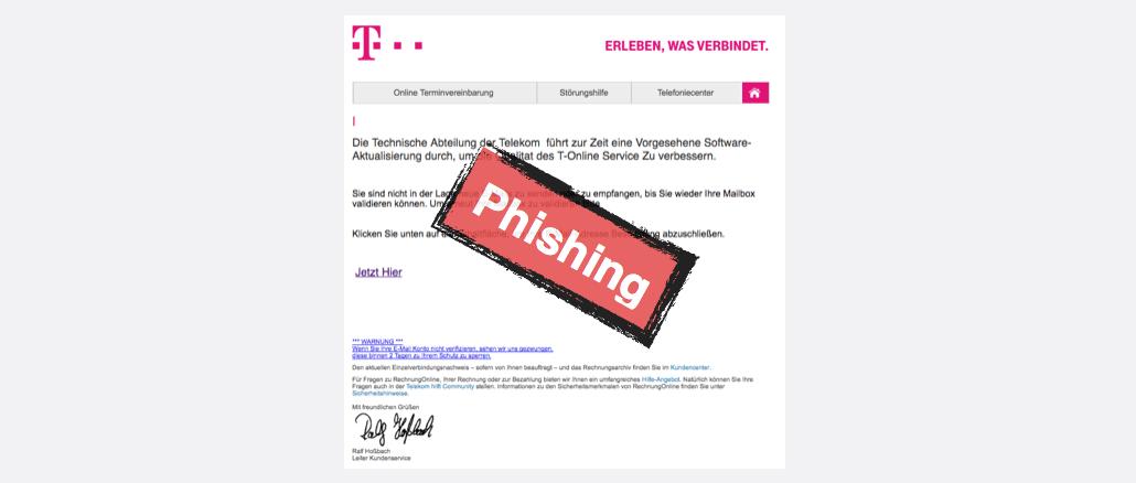 Telekom Phishing Dringend eine Bestätigung erforderlich