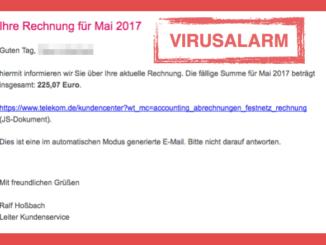 Telekom Spam Mail Rechnung Mai 2017 Virus
