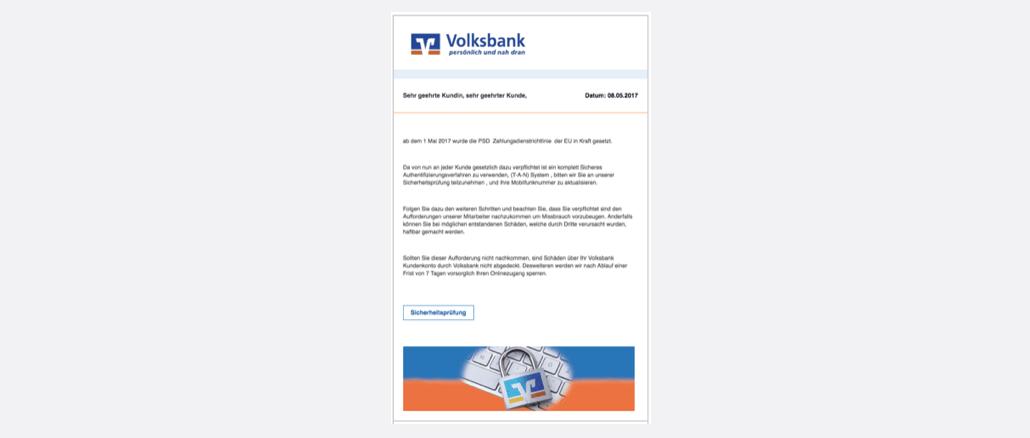 Volksbank Raiffeisenbank Phishing Kundenmitteilung Pruefung notwendig