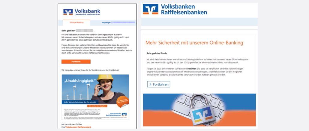 Volksbank Spam Kundenmitteilung