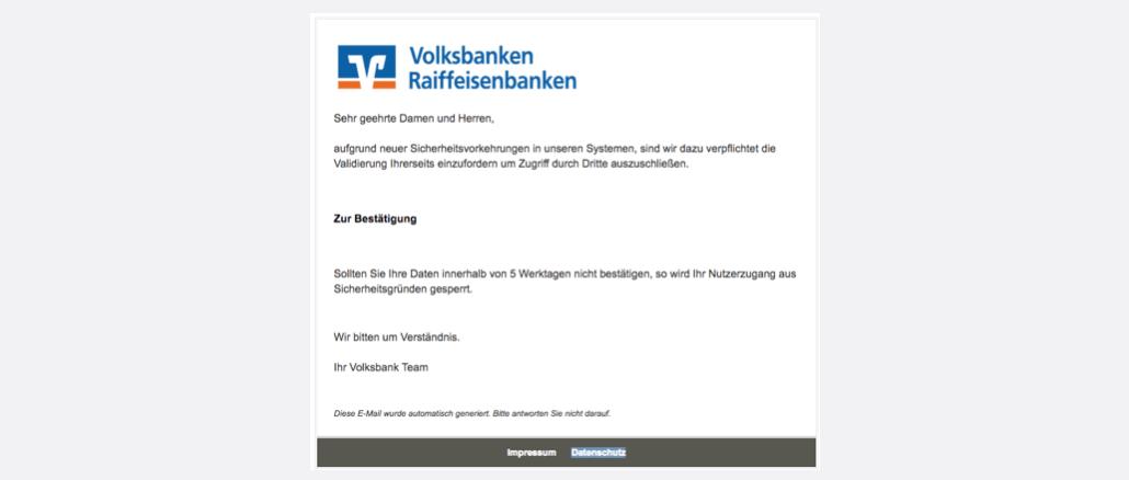 Volksbank Spam Phishing Mail Sicherheitsupdate