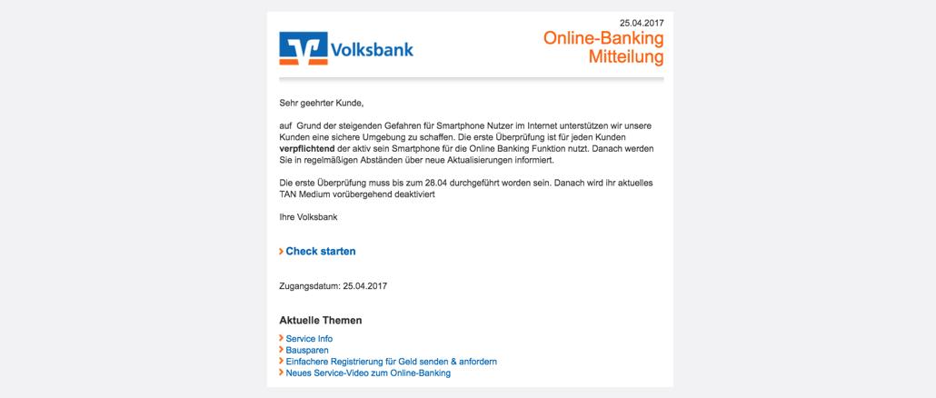 Volksbank Spam VR Check - Jetzt durchführen