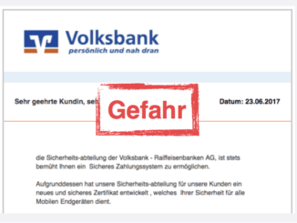 Volksbank Trojaner mobiles Zertifikat