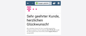 Werbung Gewinnspiel Fenster Telekom iPhone Betrug