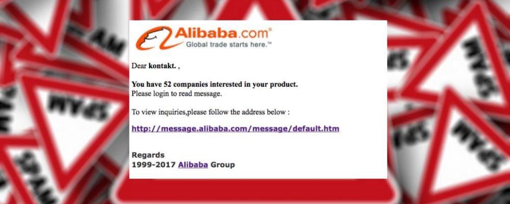 Vorsicht Spam: E-Mail von Alibaba.com ist eine Fälschung