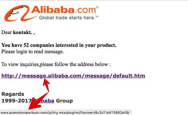 alibaba.com Phishing Mail