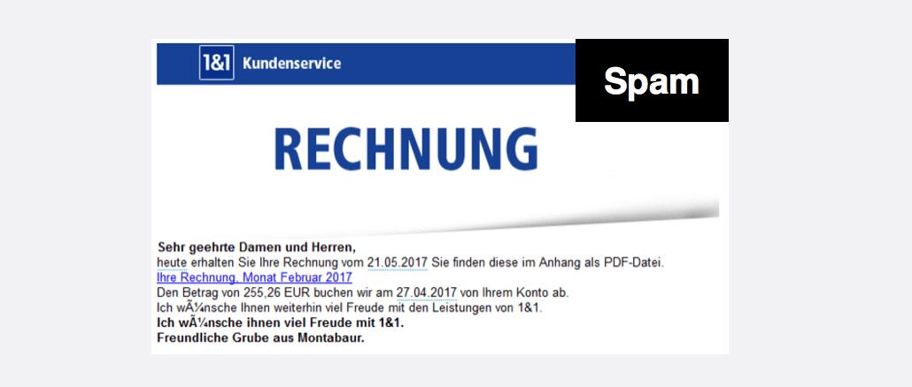 1und1 Spam Phishing Rechnung Juni 2017