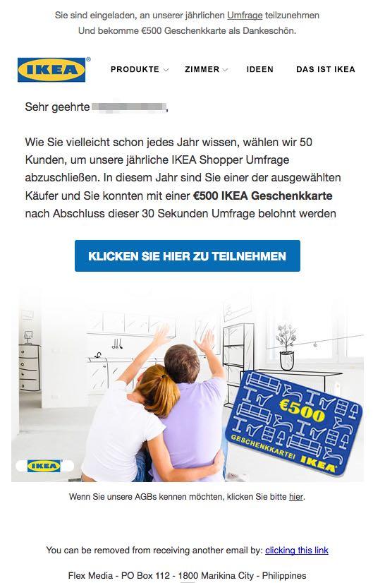 e mail werbung f r 500 euro geschenkgutschein von ikea ist f lschung. Black Bedroom Furniture Sets. Home Design Ideas