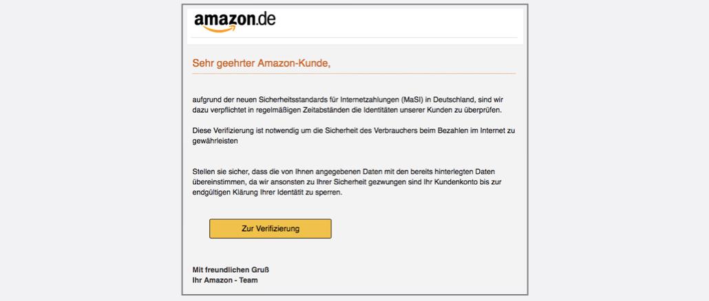 2017-05-12 Amazon Phishing Aktualisierung der Sicherheitsstandards