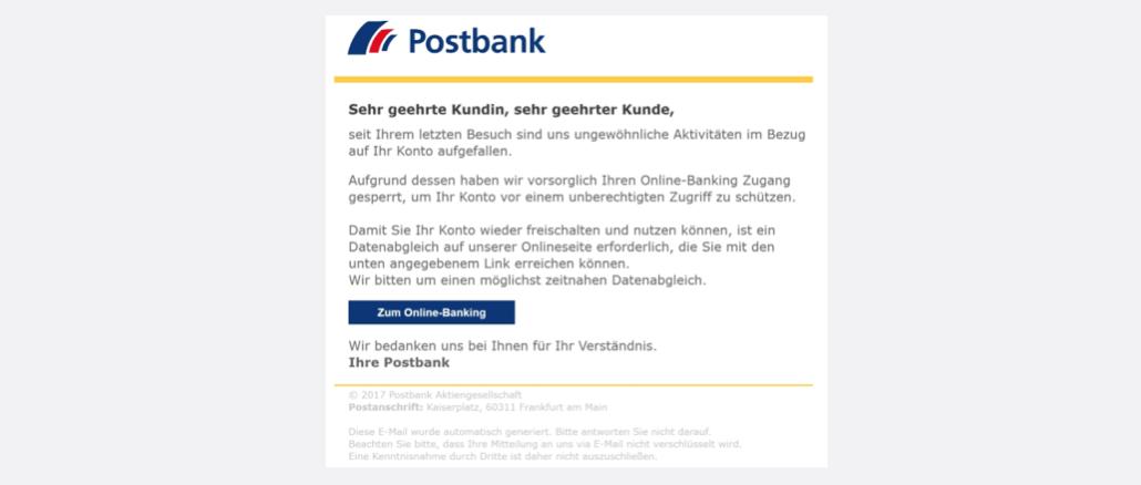 2017-09-15 Postbank Spam-Mail Kontosperrung