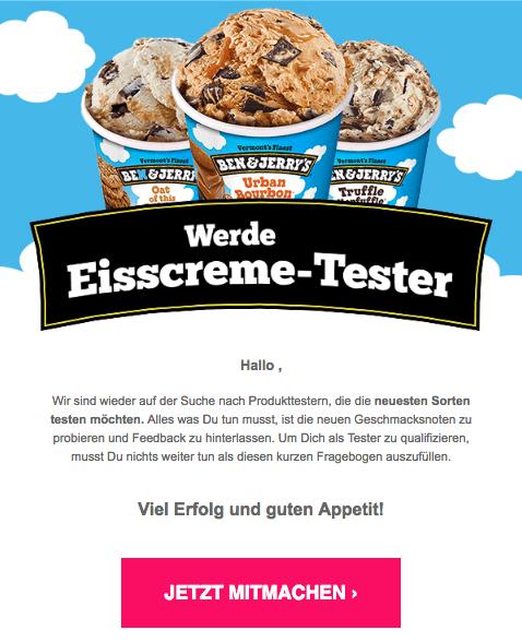 2018-07-11 Ben und Jerry Eiscreme Spam Mail Gewinnspiel Tester gesucht