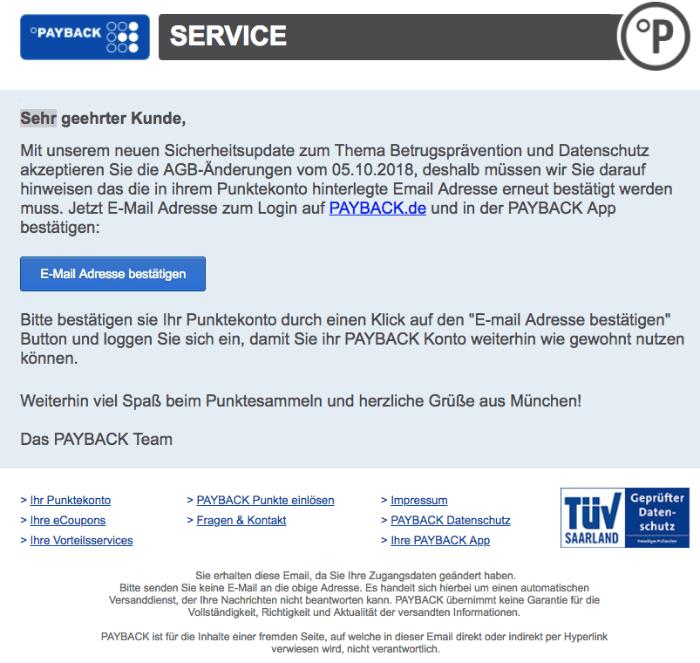 2018-10-08 Payback Fake-Mail Spam PAYBACK SICHERHEITSUPDATE