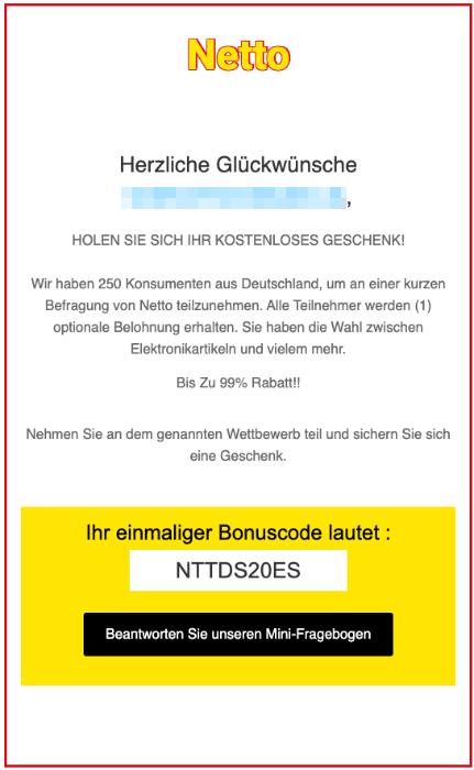 2020-05-12 Netto Spam Fake-Mail Gewinn Umfrage
