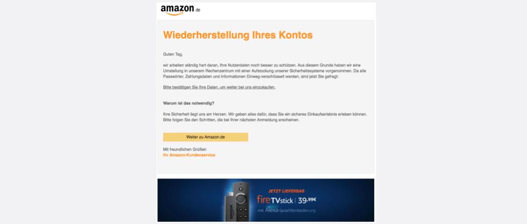 Amazon Phishing Mail Wiederherstellungsprozess starten